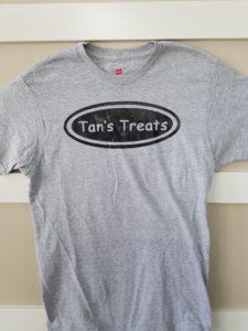 Tans Treats Grey T-Shirt with a Black Logo