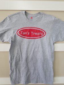 Tans Treats Grey Mens T-Shirt w a Red Logo