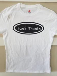 Tans Treats Womens White Tshirt Black Logo