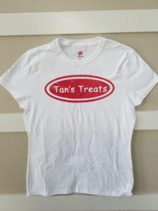 Tans Treats Womens White Tshirt Red Logo